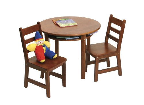 Lipper International 524C Child's Round Table and 2-Chair Set, Cherry