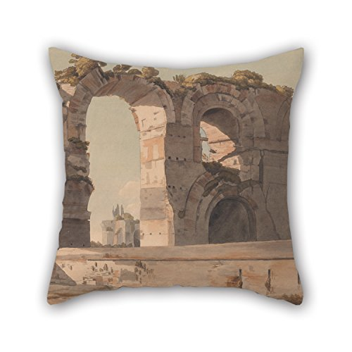 Artistdecor Oil Painting Francis Towne - The Claudian Aquaduct, Rome Pillow Covers 18 X 18 Inches / 45 By 45