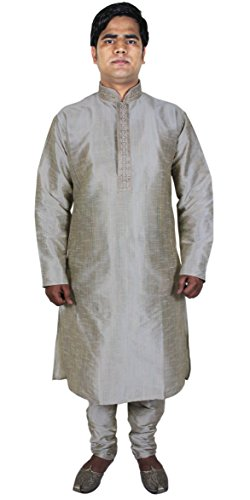 Robe-Mode-pour-hommes-Costumes-Kurta-Pajama-Shirt-ethnique-Offwhite-indienne