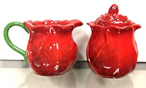 2-Pieces, Creamer & Sugar Set, Ruffle Red Flower, by ACK