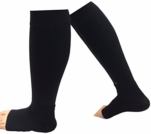 Lunarland New Black Easy on/off Zipper Compression Socks Leg Support Anti-Fatigue Relief (Compression Juicer compare prices)