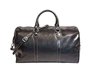 Floto Milano Duffle Black Italian Leather Luggage Travel Bag