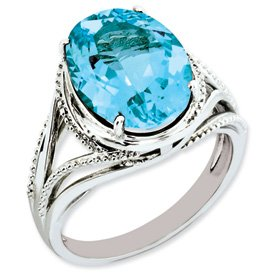 Genuine IceCarats Designer Jewelry Gift Sterling Silver Light Swiss Blue Topaz Ring Size 7.00