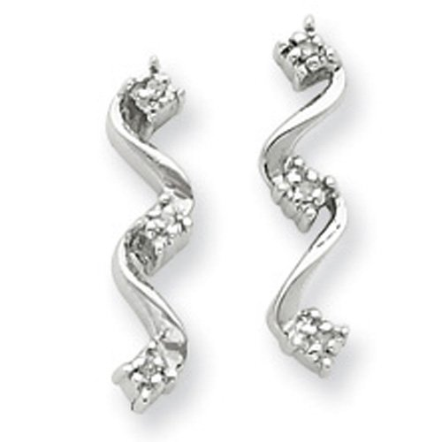 Sterling Silver Rhodium Diamond Wavy Post Earrings