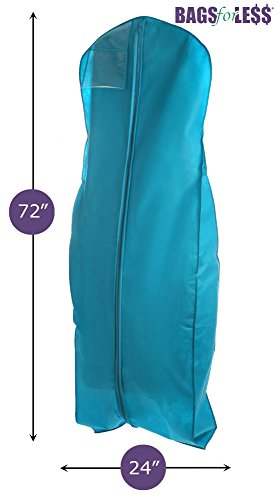 Turquoise Wedding Gown Travel & Storage Garment Bag By Bags For Less - Soft, Breathable, Durable, Rip & Water Resistant Material - Large Size With 10'' Gusset - Clear Vinyl Pouch For Labeling (Garment Wedding Dress Bag compare prices)