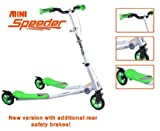 3 WHEELS KIDS MINI SPEEDER SLIDER WINGED SCOOTER TRI MOTION FLICKER DRIFTER (GREEN)