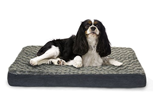 Furhaven Pet Ultra Plush Deluxe Egg-Crate Orthopedic Mat Dog Bed with Water-Resistant Base, Medium, Gray