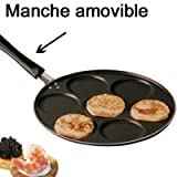 Poele anti adhesive, manche amovible, 7 blinis