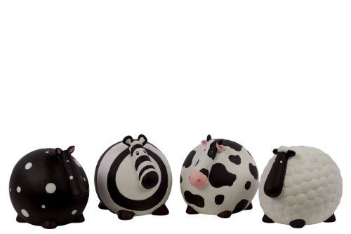 Urban Trends 46612 Decorative Ceramic Assorted Money Bank, Set of 4 - 1