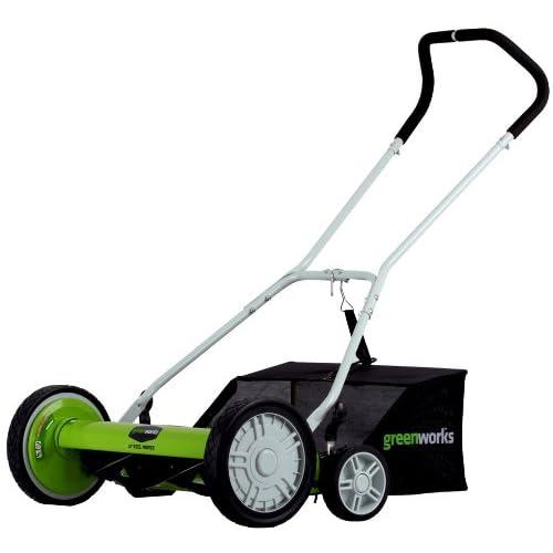 GreenWorks 25062 18-Inch Reel Lawn Mower with Grass Catcher