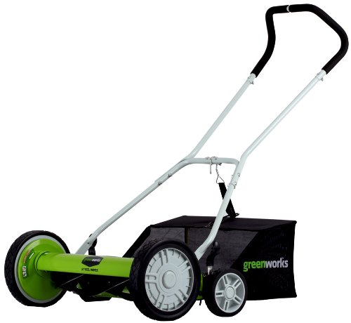 GreenWorks 25062 18-Inch 5-Blade Push Reel Lawn Mower With Grass Catcher