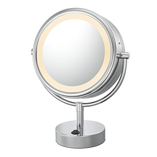 Kimball & Young 72585 Double-Sided Neo Modern Led Vanity Lighted Mirror, 1X And 5X Magnification, Polished Nickel front-931321