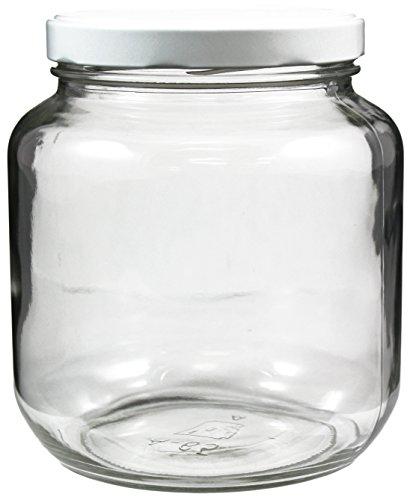 clear wide mouth glass jar 64 oz white metal lid half gallon ebay. Black Bedroom Furniture Sets. Home Design Ideas