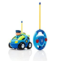 Cartoon Remote Control (R/C) Police Car for Kids and Toddlers with Sound and Lights by Dimple®
