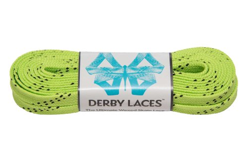 Lime Green 108 Inch Waxed Skate Lace - Derby Laces for Roller Derby, Hockey and Ice Skates, and Boots