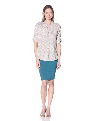 Calvin Klein Women's Printed Roll-Sleeve Top  - Refresh/Parfait/Multi