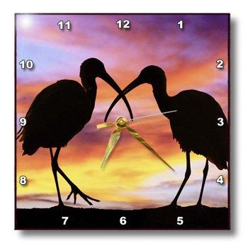 Dpp_89102_2 Danita Delimont - Birds - Florida, Mt. Dora, Ibis Bird Silhouettes - Us10 Dsn0012 - Deborah Sandidge - Wall Clocks - 13X13 Wall Clock
