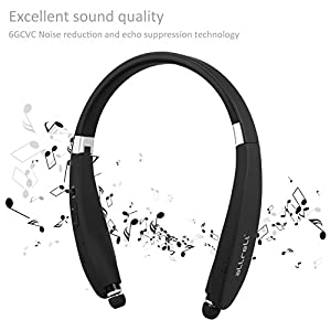 [Retractable & Foldable] aLLreLi Soba Bluetooth 4.0 Headset - Neckband Wireless Universal Stereo Headphone for iPhone 6S / Plus, Galaxy S6 Edge Plus, HTC and Other Bluetooth Enabled Devices (Black)