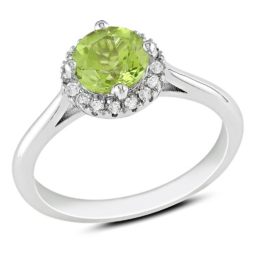 Sterling Silver 3/4 CT TGW Peridot 1/10 CT TDW Diamond Fashion Ring (G-H, I3)