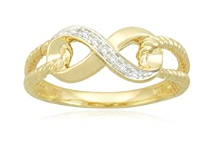 10k Yellow Gold Infinity Diamond Ring, Size 6