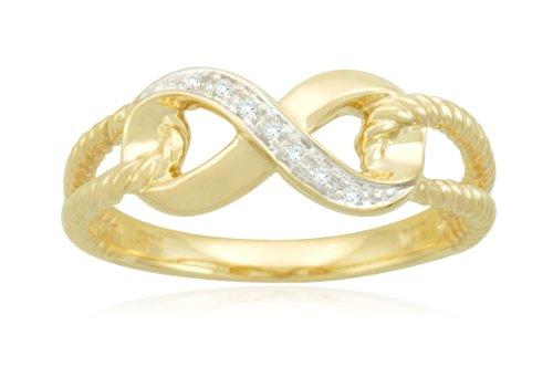 10k Yellow Gold Infinity Diamond Ring, Size 6