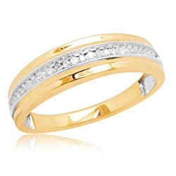 10k White or Yellow Gold Milgrain Diamond Band