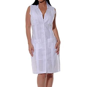 Sleeveless Linen Guayabera Dress color White