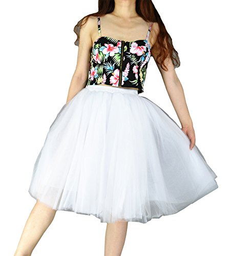 YSJ Women's Layered Tutu Tulle Knee Length A Line Prom Party Skirts (One Size, White) (Ruffled White Pettiskirt)