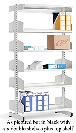 School Library Double Sided Shelving 12 Shelves 2100Hx900Wx250D Black