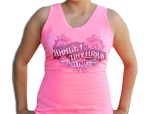 Harley-Davidson® Womens H-D Live Free Scoop Neck Pink Sleeveless Tank (Large)