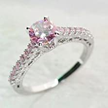 buy Jacob Alex Ring 7Mm Pink Crystal Claw Rings Size 10 Women'S 10Kt White Gold Filled Engagement
