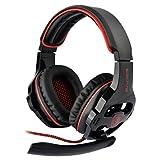 SADES SA-903 GAMING HEADSET 7.1chサラウンドプロフェッショナル USB PC ゲーム用ヘッドホン マイク、音量調節機能付き ブラック&レッド