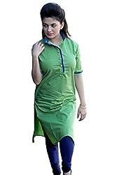Clickedia Women's Cotton A-line Kurti (cool green kurti_Green_Free Size)