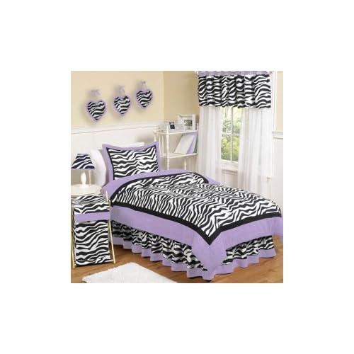 Purple Funky Zebra Teen Bedding 3 pc Full / Queen Set