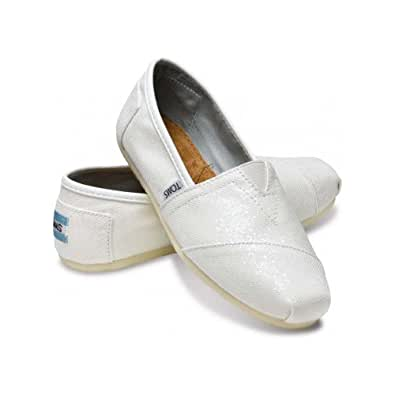TOMS Women's TOMS GLITTER CLASSICS CASUAL SHOES (WHITE GLITTER) (5.5)
