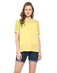 Saiesta Women's Sunny Yellow Lace Boho Top