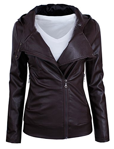 HRYfashion Womens Fashionable Zip-up Faux Leather Hoodie Jacket HRYPJW01-BROWN-US M