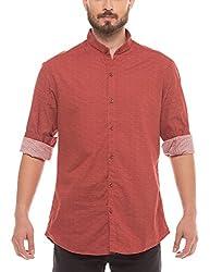 Shuffle Men's Casual Shirt (8907423018549_2021514101_Large_Rust)
