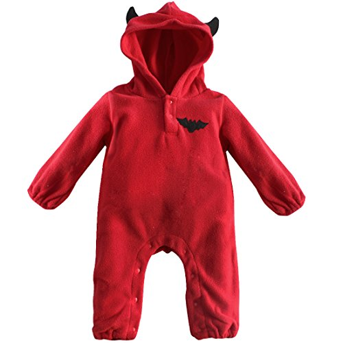 [YiZYiF Baby Boys' Girls' Halloween Bodysuits Long Sleeve Hooded Rompers Red 3-6 Months] (Halloween Costume Wearing Overalls)