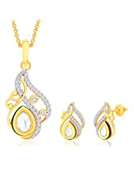 "Peora 18 Karat Gold Plated Kundan ""Padma"" Pendant Earrings Set With Free Chain (PS142GJ)"