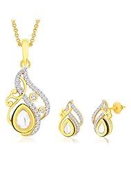 "Peora 18 Karat Gold Plated Kundan ""Padma"" Pendant Earrings Set With Free Chain (PS142GJ)"