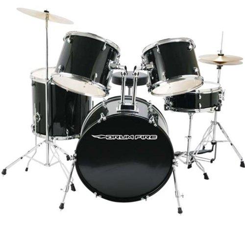 DrumFire Drum Set Kit - Gloss Black (5 Pieces)