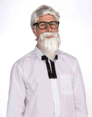 Adults Mens White Colonel Sanders KFC Civil War Wig and Beard