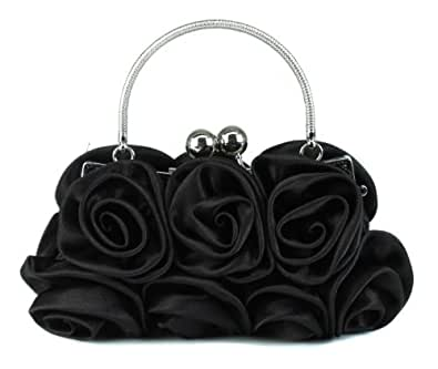 Scarleton Satin Evening Bag with Rosettes H321001 - Black