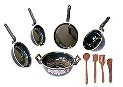 Dugri Enamle Cookware Set 5 Cookware Set with Kadchhi