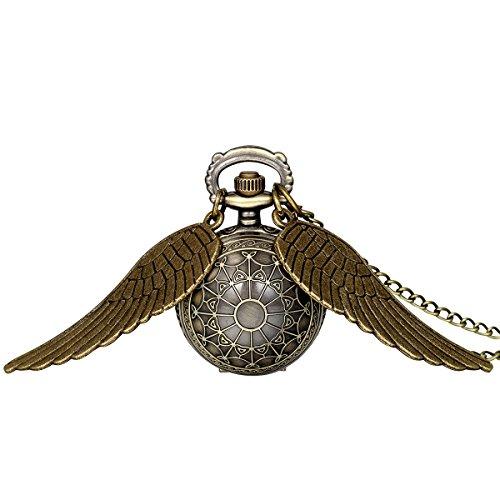 JewelryWe 大切な人や,彼氏・彼女へのプレゼント:懐中時計アンティーク風 手巻き式,ペンダント ウォッチ ポケットウォッチ,天使の羽 フラワー,合金,クリスマス バレンタイン プレゼント