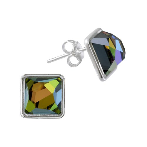 Sterling Silver Iridescent Swarovski Elements Square Post Earrings