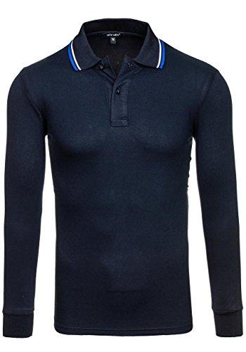 BOLF - Polo con maniche lunghe - T-shirt - Longsleeve - NEW MEN 038 - Uomo - XXL Blu scuro [3C3]