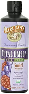 Barlean's Organic Oils Total Omega Swirl Vegan Flax/Borage Pomegranate Blueberry, 16-Ounce Bottle