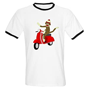 CafePress Sock Monkey Vespa Scooter Ringer T-Shirt